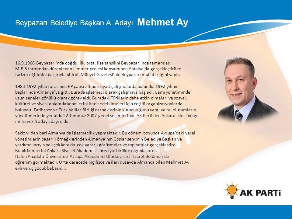 Beypazarı Belediye Başkan A. Adayı Mehmet Ay 16.9.1966 Beypazarı'nda doğdu. İlk, orta, lise tahsilini Beypazarı'nda tamamladı. M.E.B tarafından düzenl
