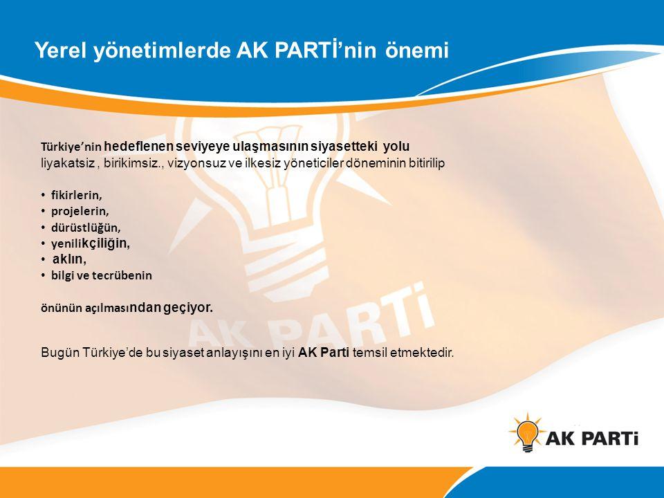 Yerel yönetimlerde AK PARTİ'nin önemi Türkiye'nin hedeflenen seviyeye ulaşmasının siyasetteki yolu liyakatsiz, birikimsiz., vizyonsuz ve ilkesiz yönet