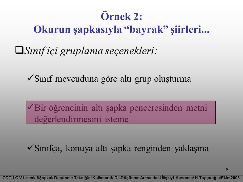 8  Sınıf içi gruplama seçenekleri:  Sınıf mevcuduna göre altı grup oluşturma  Bir öğrencinin altı şapka penceresinden metni değerlendirmesini istem