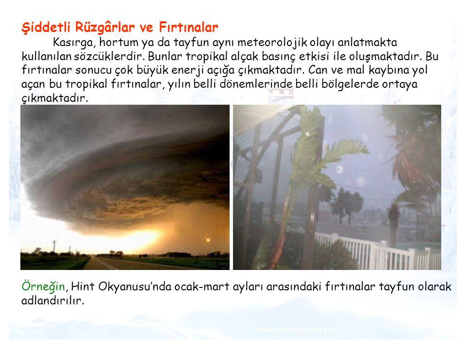 Tsunami Şiddetli Rüzgârlar ve Fırtınalar Kasırga, hortum ya da tayfun aynı meteorolojik olayı anlatmakta kullanılan sözcüklerdir. Bunlar tropikal alça