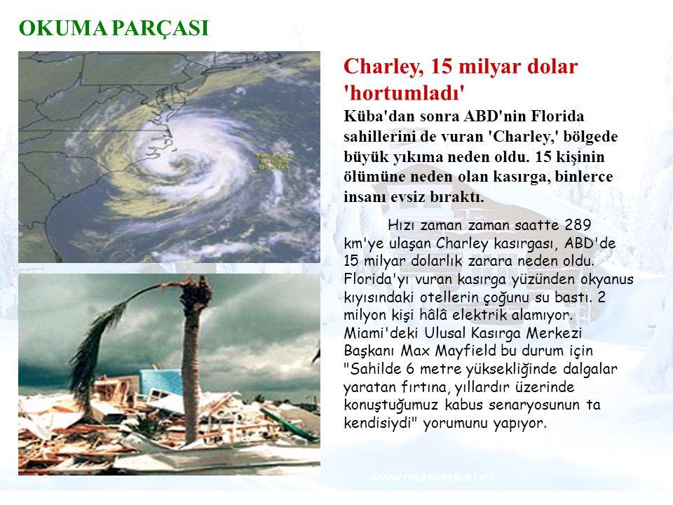 Tsunami Örneğin, Hint Okyanusu'nda ocak- mart ayları arasındaki fırtınalar OKUMA PARÇASI Charley, 15 milyar dolar 'hortumladı' Küba'dan sonra ABD'nin