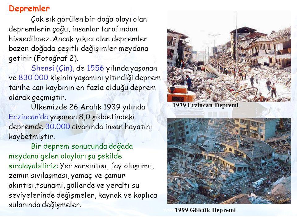 Tsunami Depremler Çok sık görülen bir doğa olayı olan depremlerin çoğu, insanlar tarafından hissedilmez. Ancak yıkıcı olan depremler bazen doğada çeşi