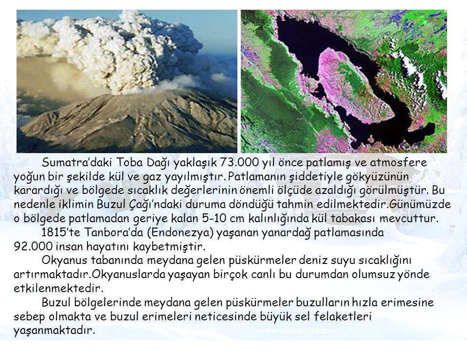 Fotoğraf 1- Su kıtlığı Sumatra'daki Toba Dağı yaklaşık 73.000 yıl önce patlamış ve atmosfere yoğun bir şekilde kül ve gaz yayılmıştır. Patlamanın şidd