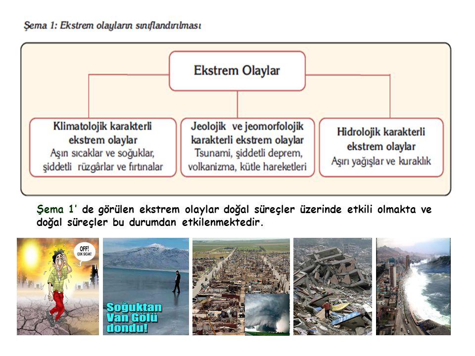Şema 1' de görülen ekstrem olaylar doğal süreçler üzerinde etkili olmakta ve doğal süreçler bu durumdan etkilenmektedir.