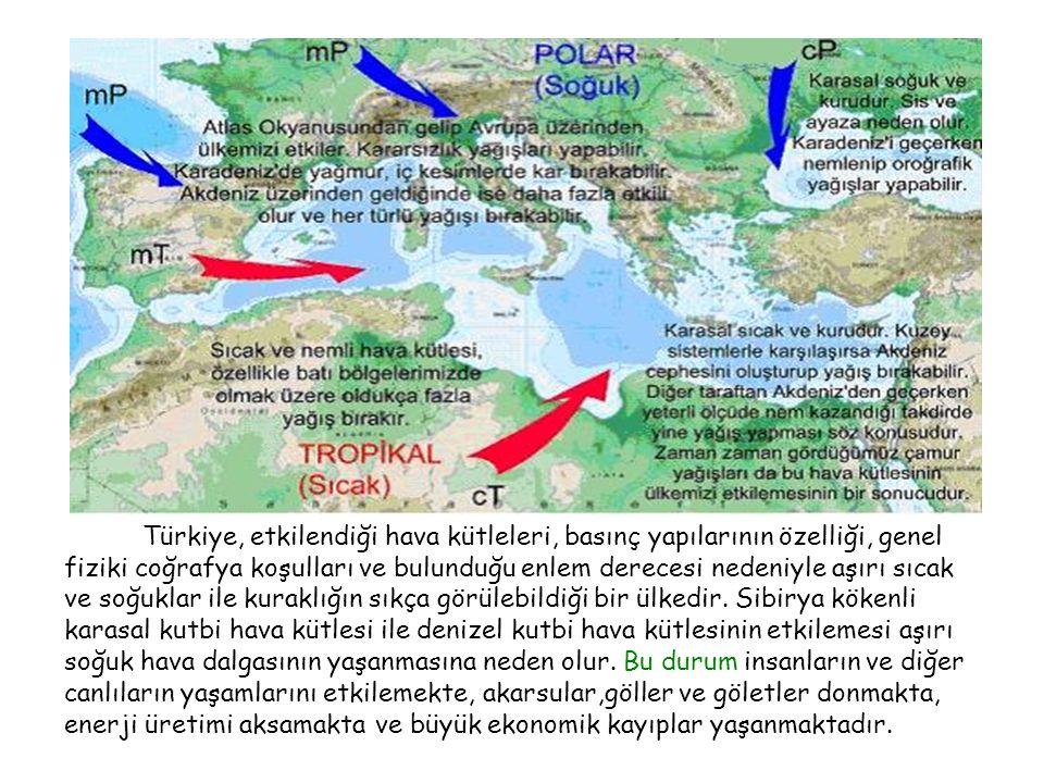 Tsunami Türkiye, etkilendiği hava kütleleri, basınç yapılarının özelliği, genel fiziki coğrafya koşulları ve bulunduğu enlem derecesi nedeniyle aşırı