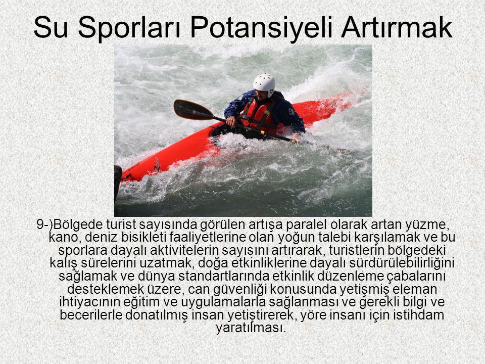 Su Sporları Potansiyeli Artırmak 9-)Bölgede turist sayısında görülen artışa paralel olarak artan yüzme, kano, deniz bisikleti faaliyetlerine olan yoğu