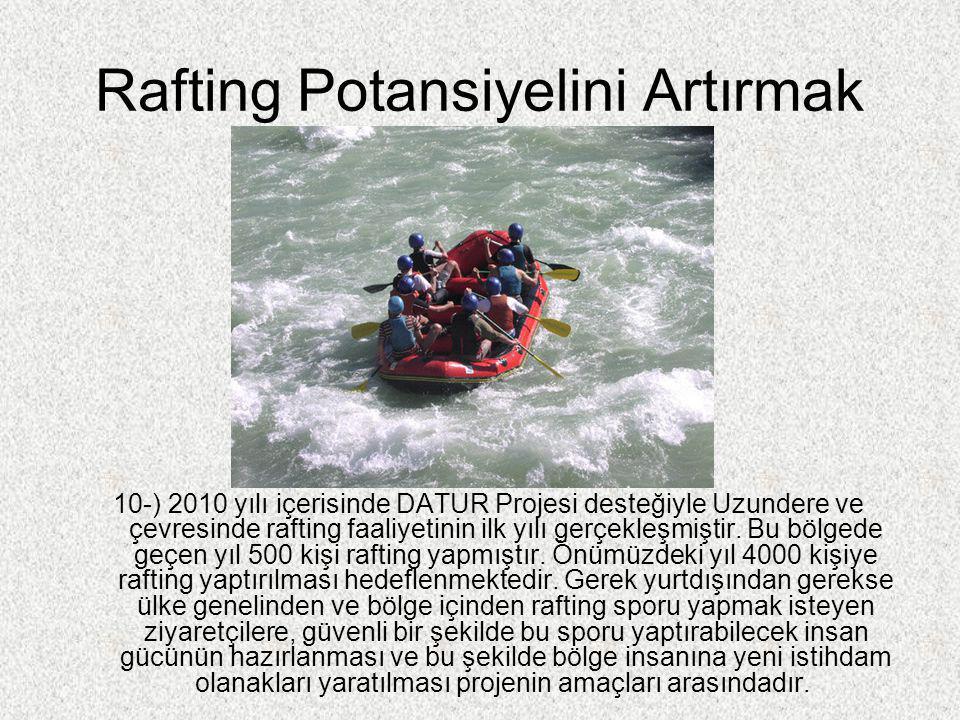 Rafting Potansiyelini Artırmak 10-) 2010 yılı içerisinde DATUR Projesi desteğiyle Uzundere ve çevresinde rafting faaliyetinin ilk yılı gerçekleşmiştir