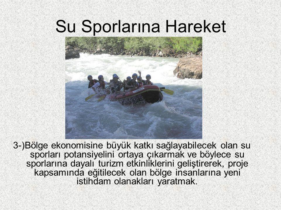 Su Sporlarına Hareket 3-)Bölge ekonomisine büyük katkı sağlayabilecek olan su sporları potansiyelini ortaya çıkarmak ve böylece su sporlarına dayalı t