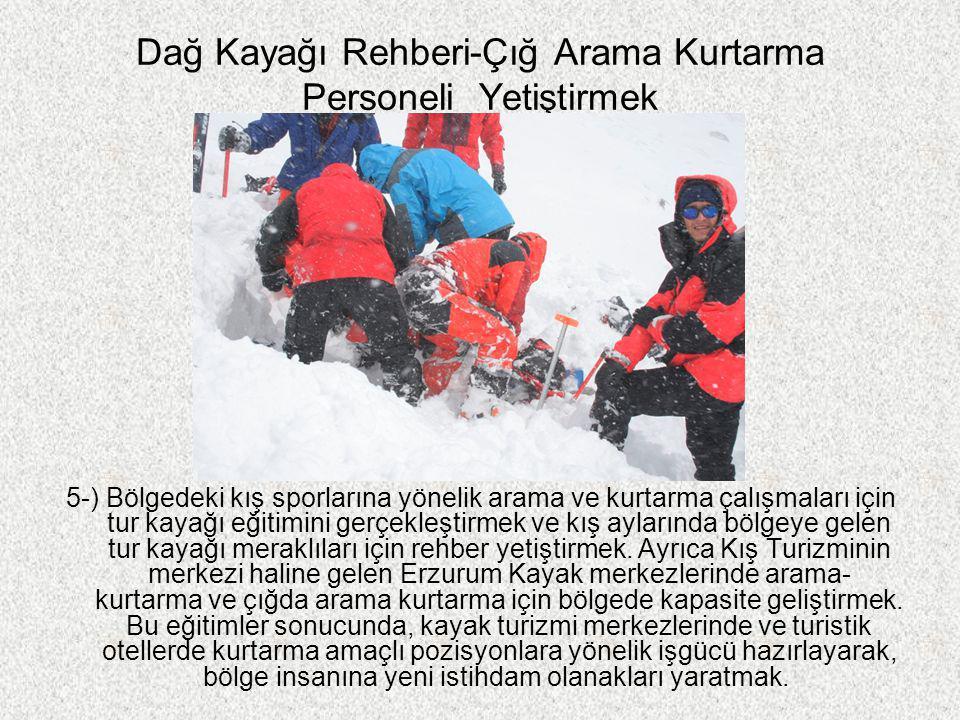 Dağ Kayağı Rehberi-Çığ Arama Kurtarma Personeli Yetiştirmek 5-) Bölgedeki kış sporlarına yönelik arama ve kurtarma çalışmaları için tur kayağı eğitimi