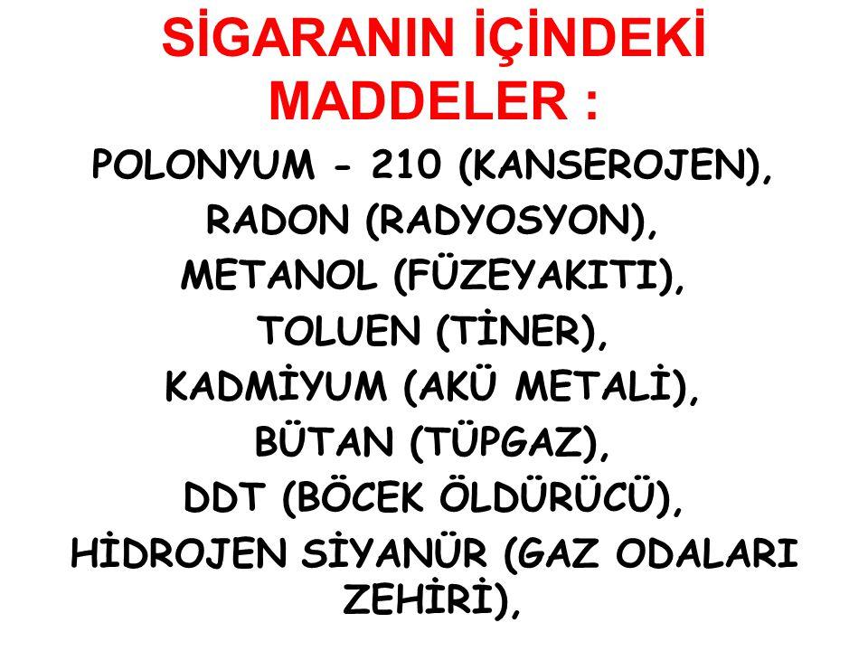 SİGARANIN İÇİNDEKİ MADDELER : POLONYUM - 210 (KANSEROJEN), RADON (RADYOSYON), METANOL (FÜZEYAKITI), TOLUEN (TİNER), KADMİYUM (AKÜ METALİ), BÜTAN (TÜPG