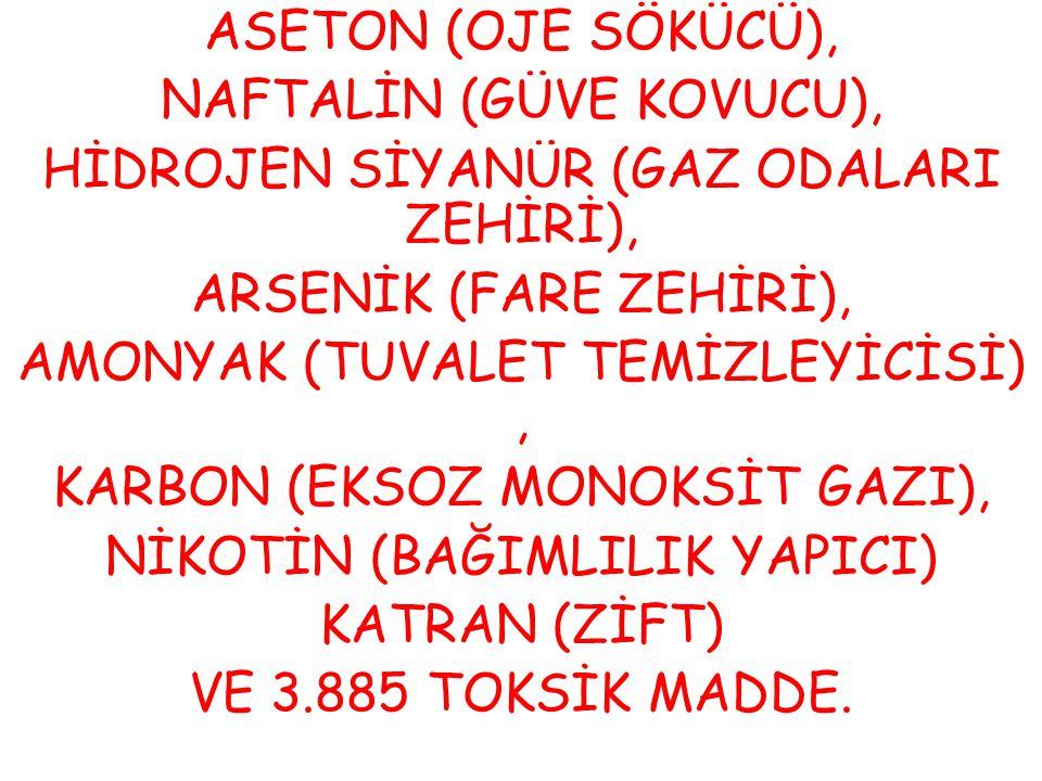 ASETON (OJE SÖKÜCÜ), NAFTALİN (GÜVE KOVUCU), HİDROJEN SİYANÜR (GAZ ODALARI ZEHİRİ), ARSENİK (FARE ZEHİRİ), AMONYAK (TUVALET TEMİZLEYİCİSİ), KARBON (EK