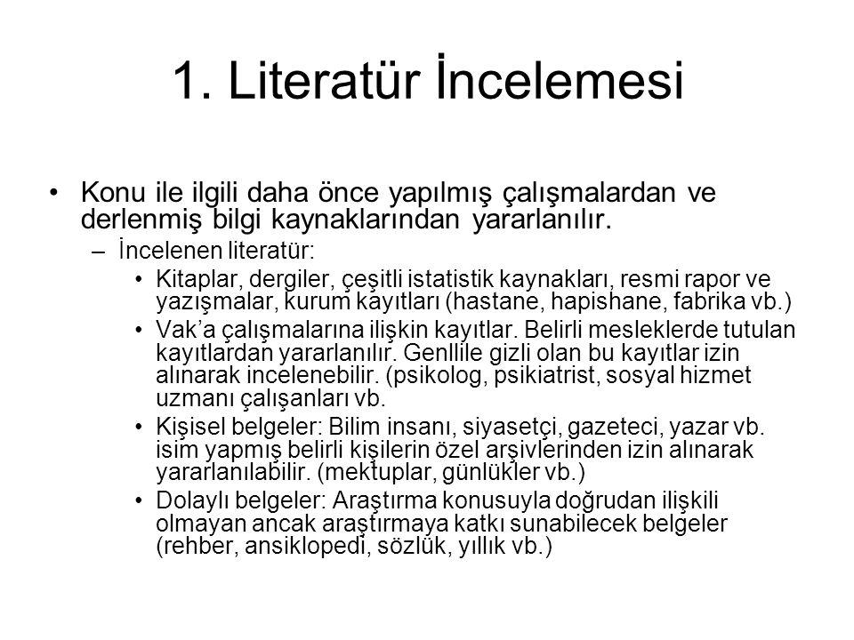 1. Literatür İncelemesi •Konu ile ilgili daha önce yapılmış çalışmalardan ve derlenmiş bilgi kaynaklarından yararlanılır. –İncelenen literatür: •Kitap