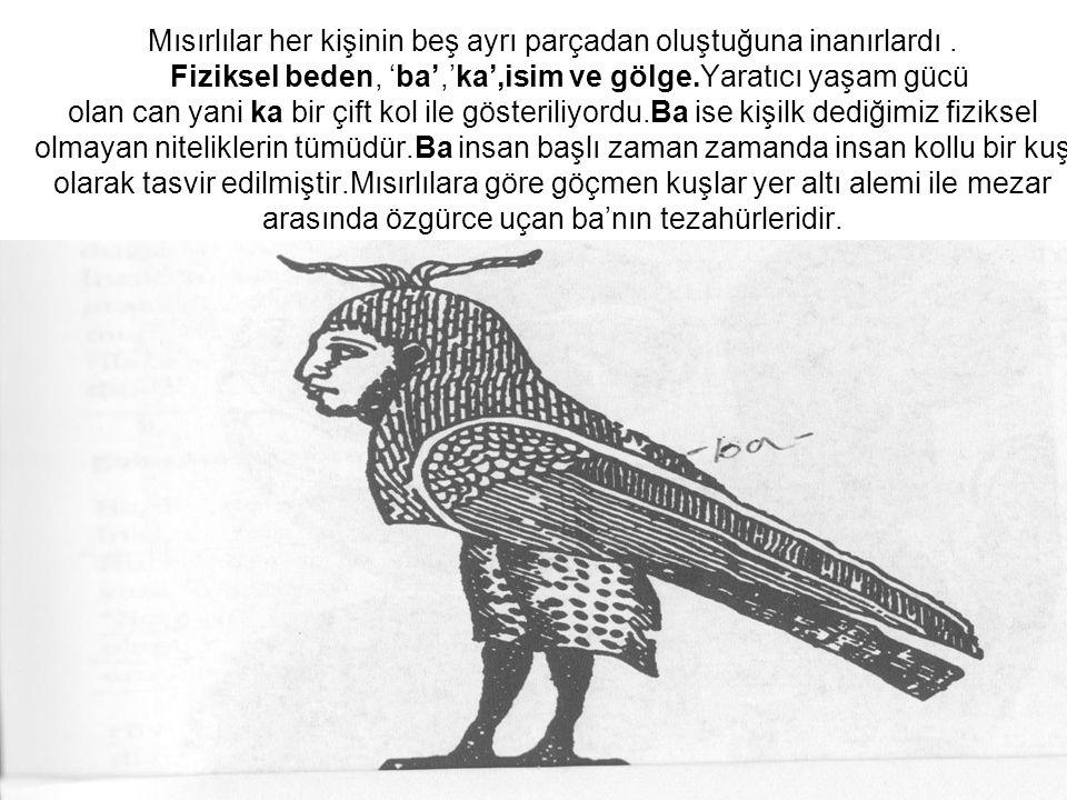 Mısırlılar her kişinin beş ayrı parçadan oluştuğuna inanırlardı. Fiziksel beden, 'ba','ka',isim ve gölge.Yaratıcı yaşam gücü olan can yani ka bir çift