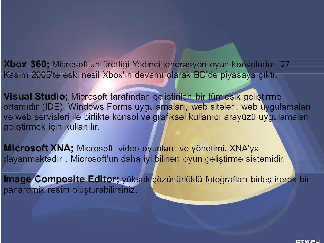 Xbox 360; Microsoft'un ürettiği Yedinci jenerasyon oyun konsoludur. 27 Kasım 2005'te eski nesil Xbox'ın devamı olarak BD'de piyasaya çıktı. Visual Stu