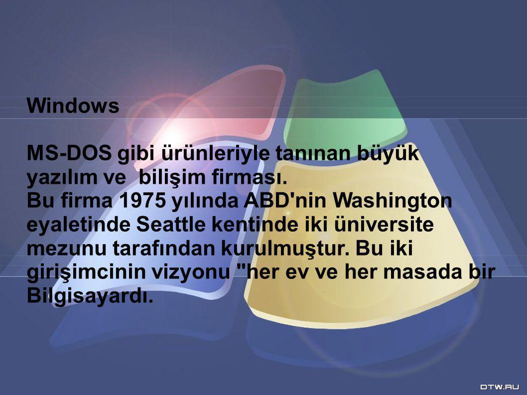 Windows MS-DOS gibi ürünleriyle tanınan büyük yazılım ve bilişim firması. Bu firma 1975 yılında ABD'nin Washington eyaletinde Seattle kentinde iki üni