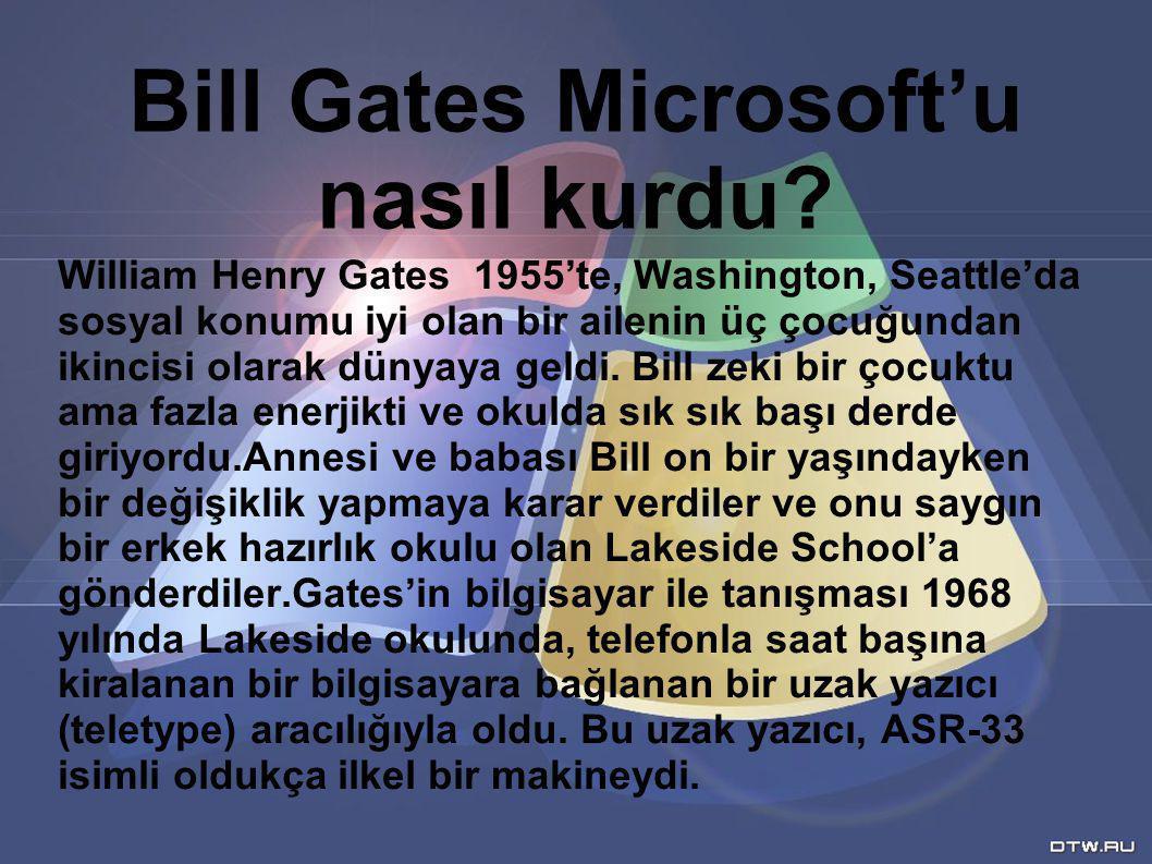 William Henry Gates 1955'te, Washington, Seattle'da sosyal konumu iyi olan bir ailenin üç çocuğundan ikincisi olarak dünyaya geldi. Bill zeki bir çocu