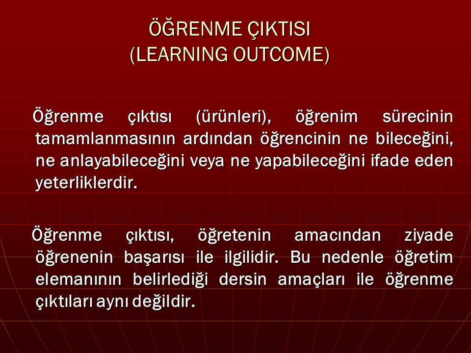 ÖĞRENME ÇIKTILARI/ÜRÜNLERİ (Learning Outcomes) Yazarken (2) :  Öğrencinin yapması gereken öğrenmeyi tanımlayan bir eylem fiiliyle başlayın (uygun fiiller için bir kılavuz kullanın) Eylem fiilleri (örneğin ad verme) ve ders konusu (cümlede kullanılan dilbilgisi öğeleri) öğrenciden beklenenleri gösterir.