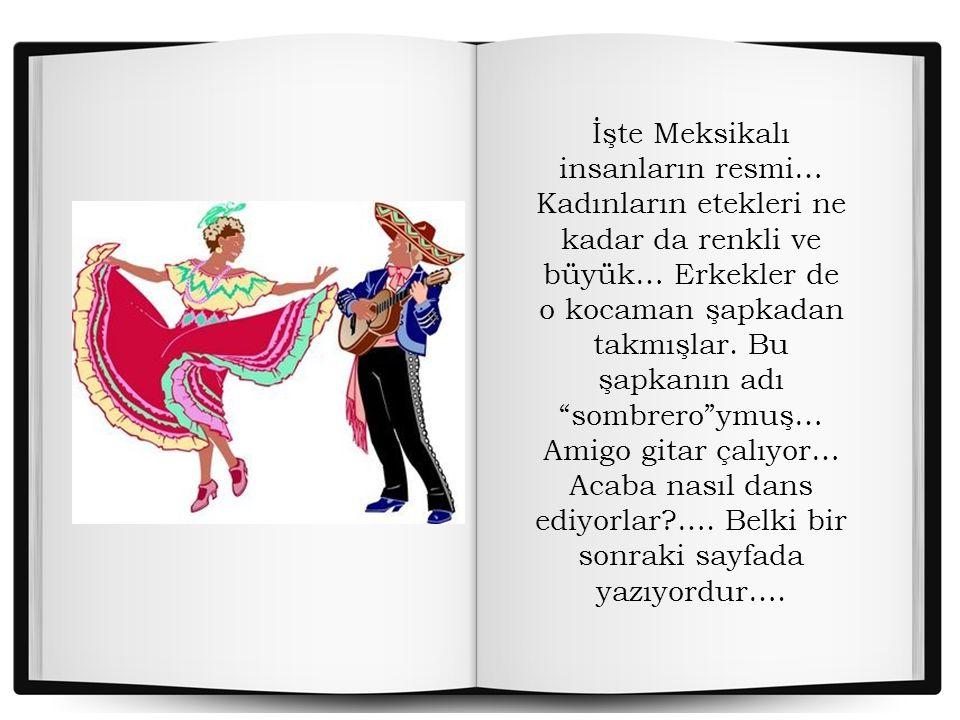Evvvet… İşte başardım. Artık bu tatlı çocuğun şapkasındayım… Elinde bir kitap vardı… MEKSİKA yazıyordu kitabın kapağında… Orayı biliyorum… Çok uzakta