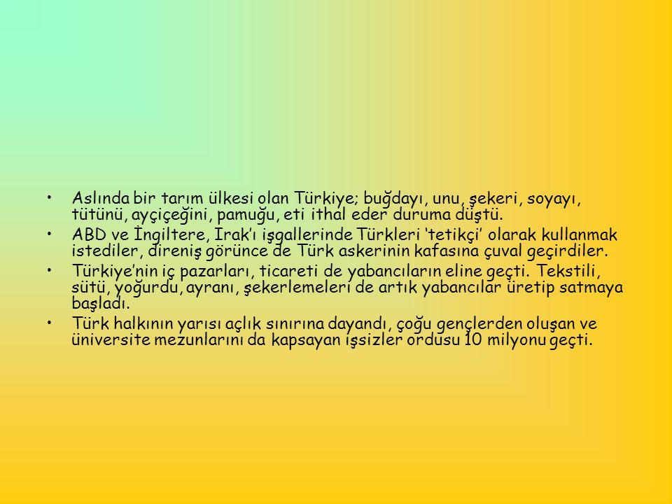•Aslında bir tarım ülkesi olan Türkiye; buğdayı, unu, şekeri, soyayı, tütünü, ayçiçeğini, pamuğu, eti ithal eder duruma düştü. •ABD ve İngiltere, Irak