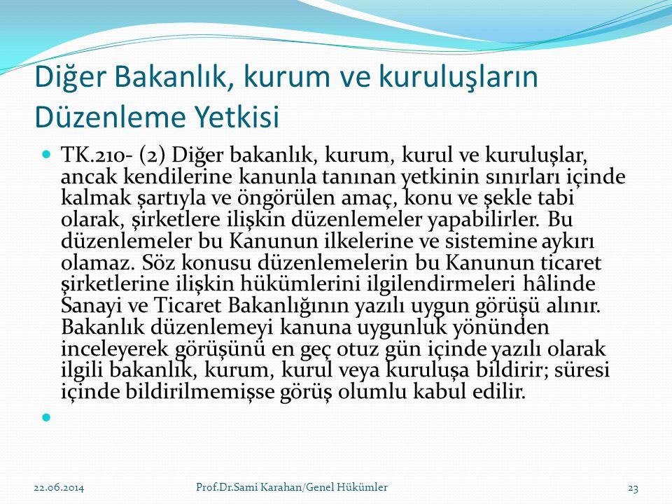 Diğer Bakanlık, kurum ve kuruluşların Düzenleme Yetkisi  TK.210- (2) Diğer bakanlık, kurum, kurul ve kuruluşlar, ancak kendilerine kanunla tanınan ye