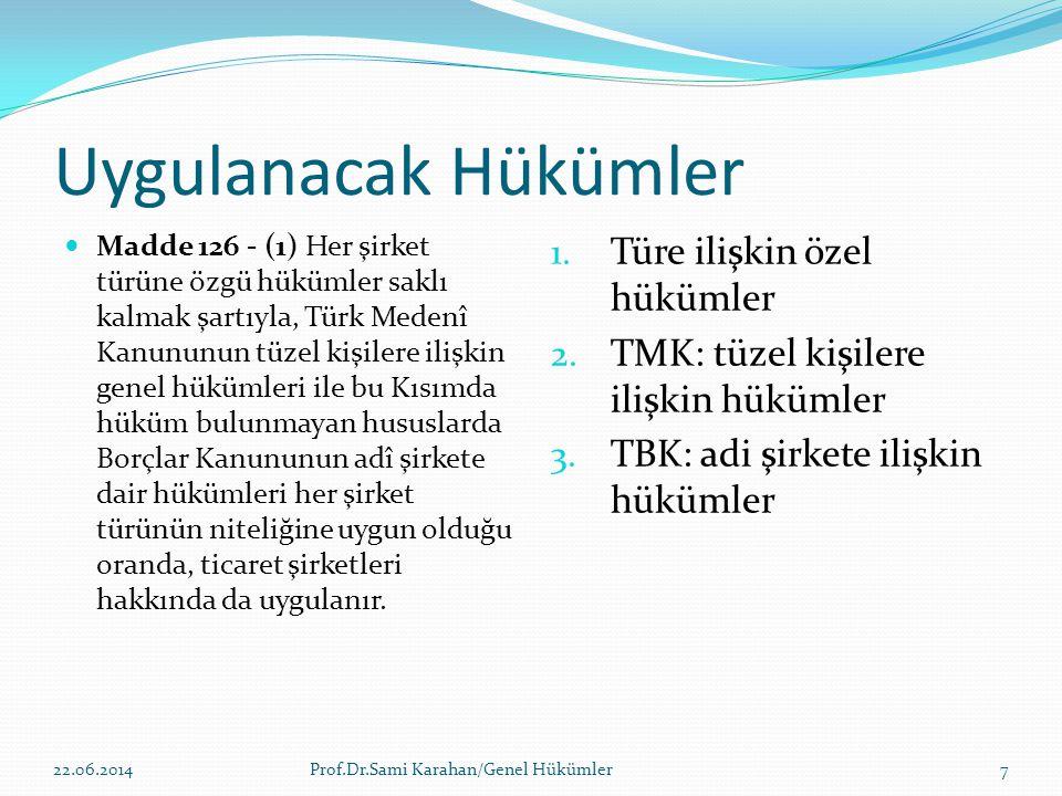Uygulanacak Hükümler  Madde 126 - (1) Her şirket türüne özgü hükümler saklı kalmak şartıyla, Türk Medenî Kanununun tüzel kişilere ilişkin genel hüküm