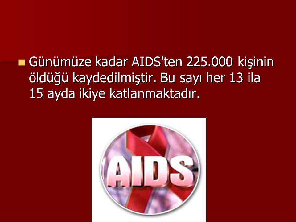  Günümüze kadar AIDS'ten 225.000 kişinin öldüğü kaydedilmiştir. Bu sayı her 13 ila 15 ayda ikiye katlanmaktadır.