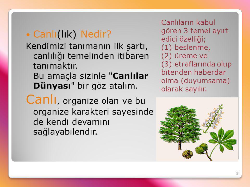 Canlıların kabul gören 3 temel ayırt edici özelliği; (1) beslenme, (2) üreme ve (3) etraflarında olup bitenden haberdar olma (duyumsama) olarak sayılı