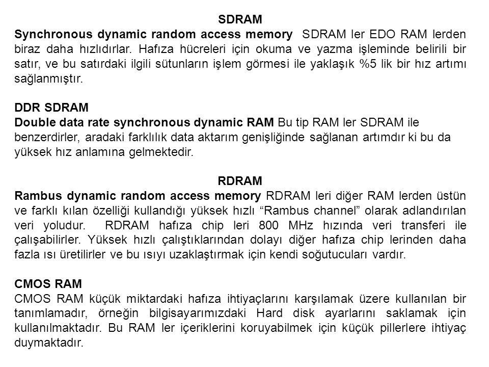 SDRAM Synchronous dynamic random access memory SDRAM ler EDO RAM lerden biraz daha hızlıdırlar. Hafıza hücreleri için okuma ve yazma işleminde beliril
