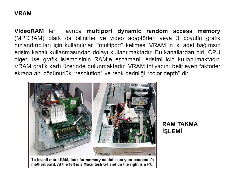 VRAM VideoRAM ler ayrıca multiport dynamic random access memory (MPDRAM) olark da bilinirler ve video adaptörleri veya 3 boyutlu grafik hızlandırıcıla