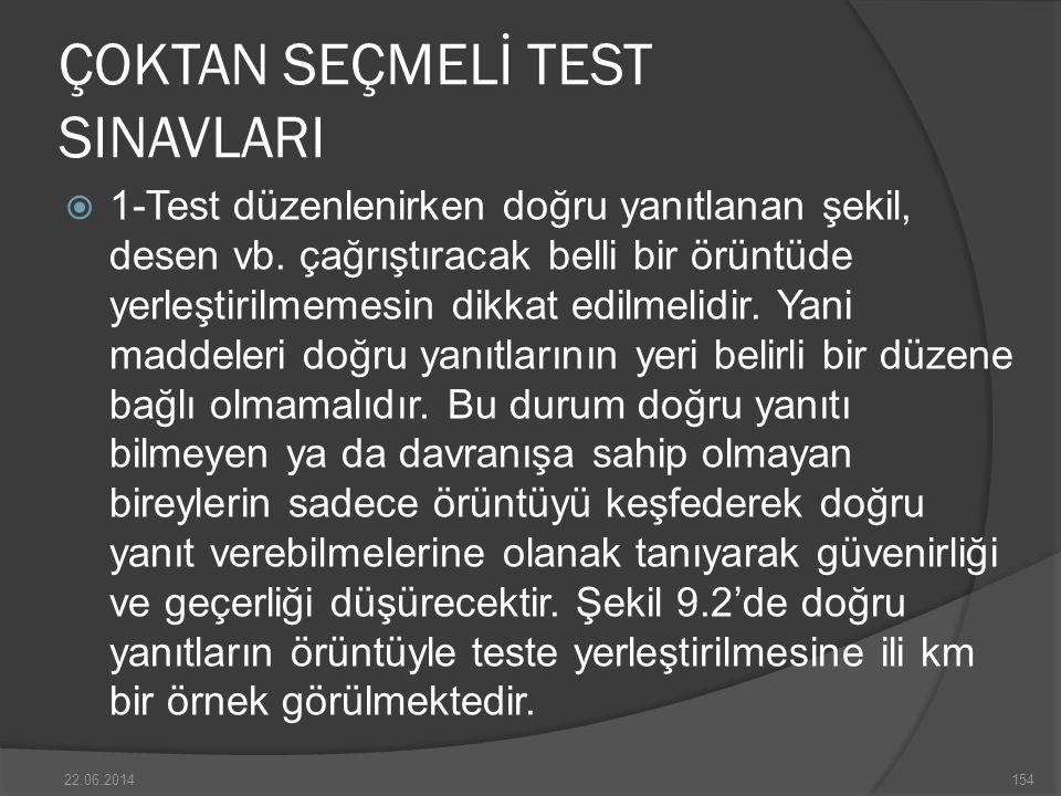 ÇOKTAN SEÇMELİ TEST SINAVLARI  1-Test düzenlenirken doğru yanıtlanan şekil, desen vb.