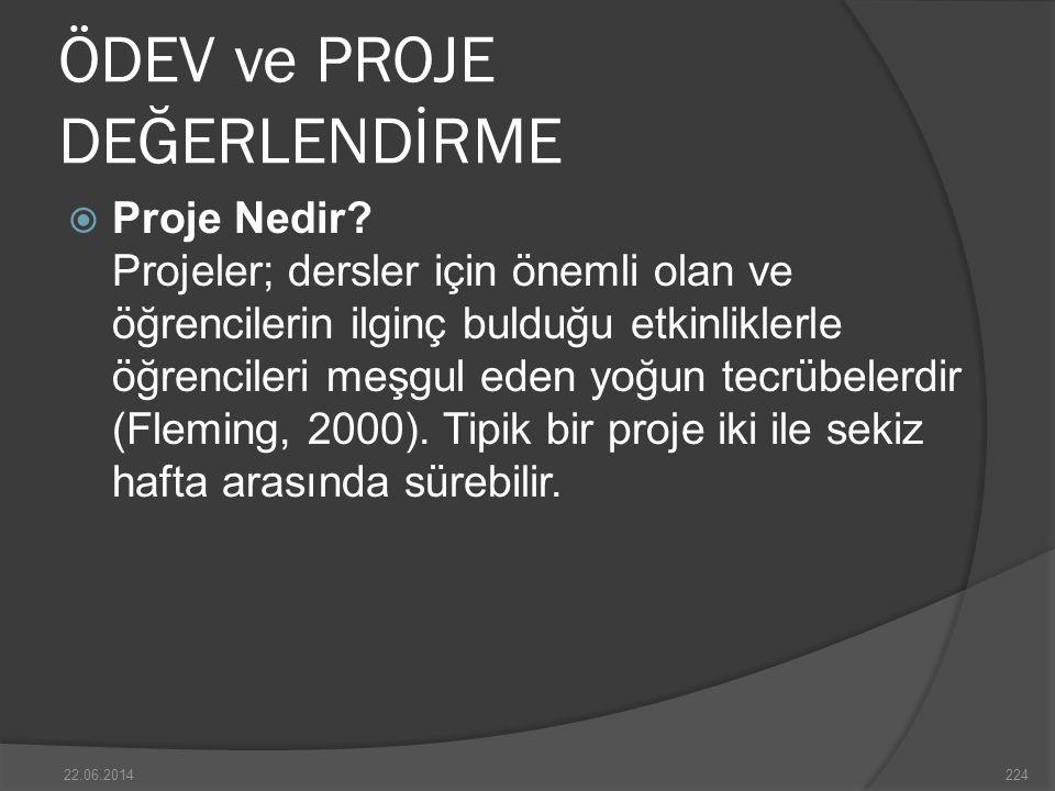 ÖDEV ve PROJE DEĞERLENDİRME  Proje Nedir.