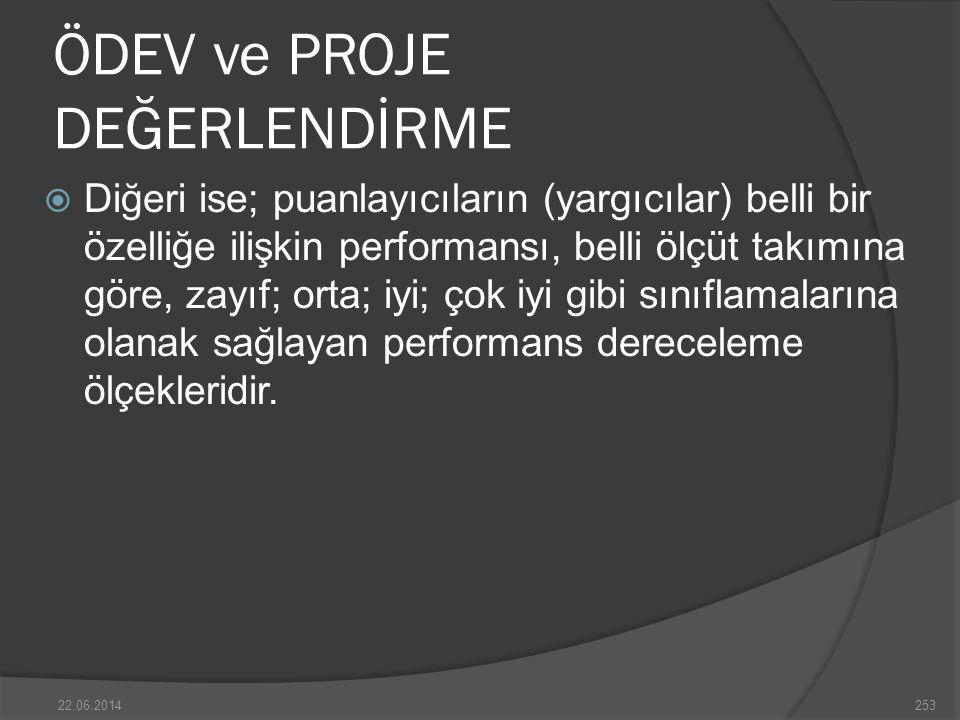 ÖDEV ve PROJE DEĞERLENDİRME  Diğeri ise; puanlayıcıların (yargıcılar) belli bir özelliğe ilişkin performansı, belli ölçüt takımına göre, zayıf; orta; iyi; çok iyi gibi sınıflamalarına olanak sağlayan performans dereceleme ölçekleridir.