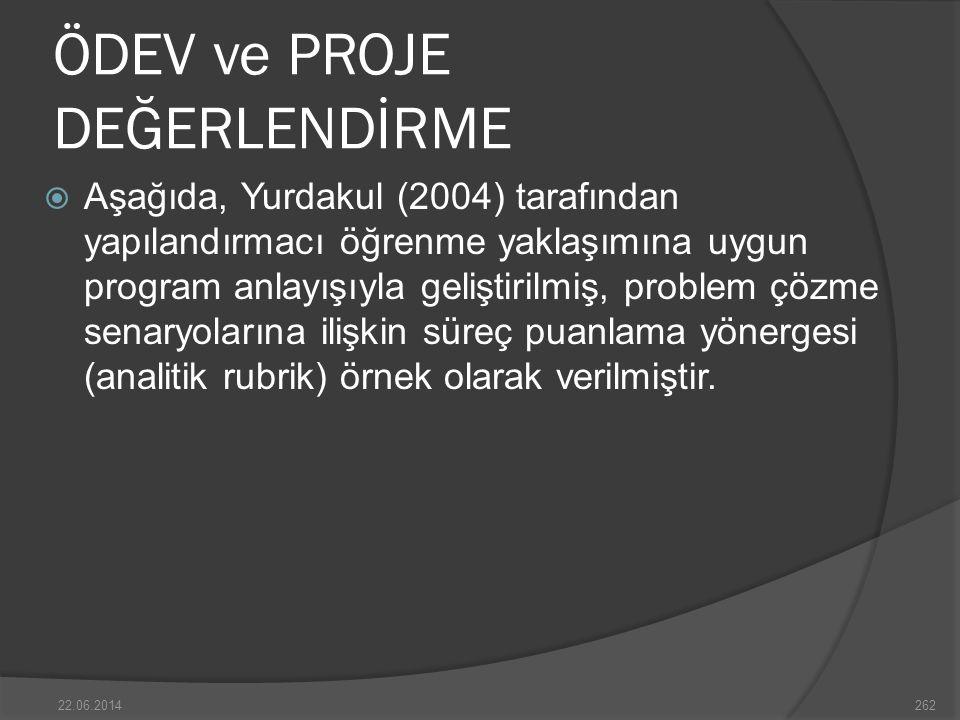 ÖDEV ve PROJE DEĞERLENDİRME  Aşağıda, Yurdakul (2004) tarafından yapılandırmacı öğrenme yaklaşımına uygun program anlayışıyla geliştirilmiş, problem çözme senaryolarına ilişkin süreç puanlama yönergesi (analitik rubrik) örnek olarak verilmiştir.