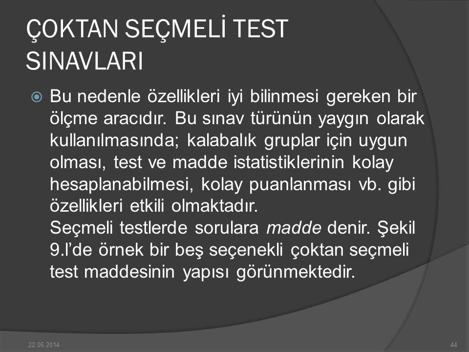 ÇOKTAN SEÇMELİ TEST SINAVLARI  Bu nedenle özellikleri iyi bilinmesi gereken bir ölçme aracıdır.