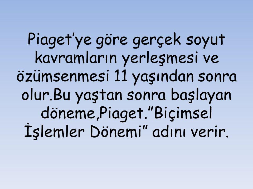 """Piaget'ye göre gerçek soyut kavramların yerleşmesi ve özümsenmesi 11 yaşından sonra olur.Bu yaştan sonra başlayan döneme,Piaget.""""Biçimsel İşlemler Dön"""