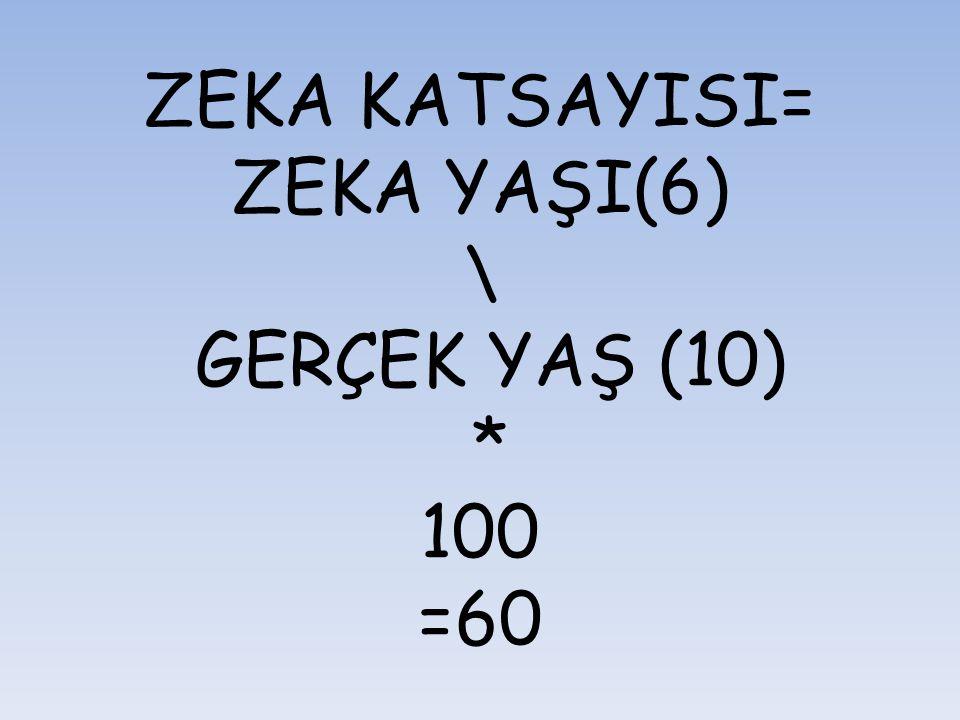 ZEKA KATSAYISI= ZEKA YAŞI(6) \ GERÇEK YAŞ (10) * 100 =60