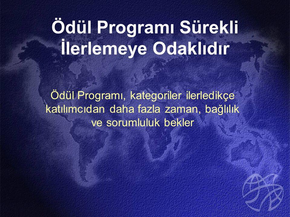 Ödül Programı Sürekli İlerlemeye Odaklıdır Ödül Programı, kategoriler ilerledikçe katılımcıdan daha fazla zaman, bağlılık ve sorumluluk bekler