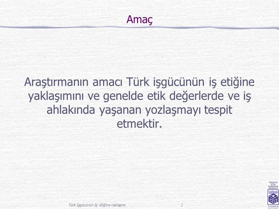 Türk İşgücünün İş Etiğine Yaklaşımı 2 Amaç Araştırmanın amacı Türk işgücünün iş etiğine yaklaşımını ve genelde etik değerlerde ve iş ahlakında yaşanan