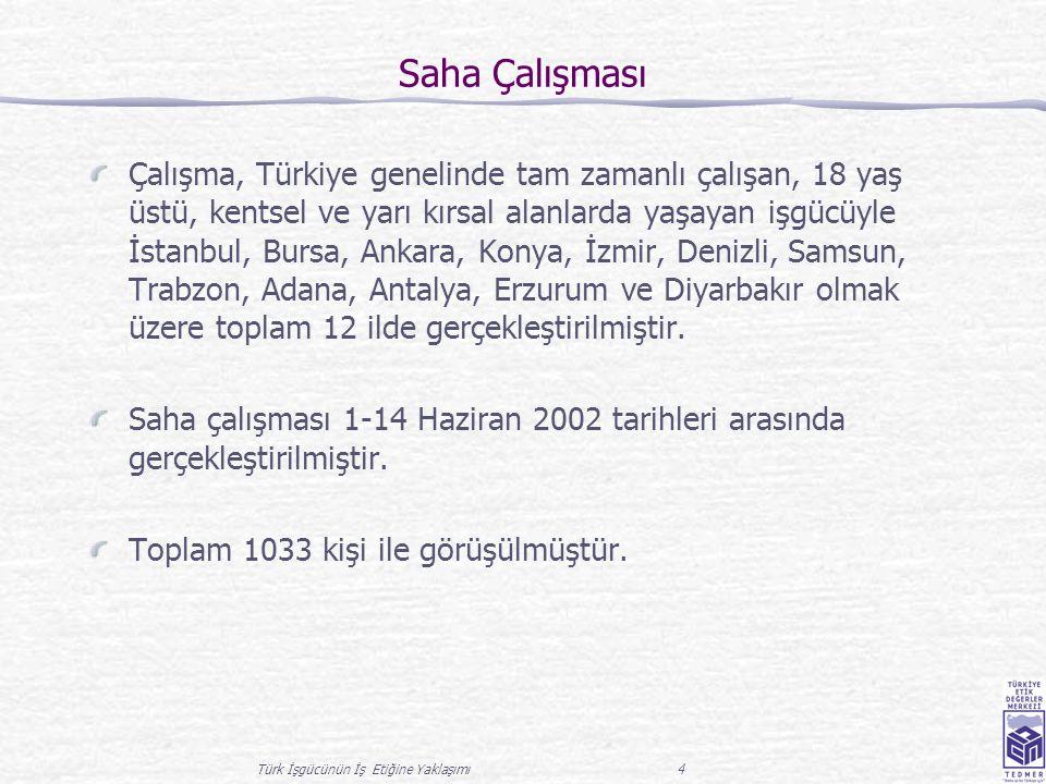 Türk İşgücünün İş Etiğine Yaklaşımı 4 Saha Çalışması Çalışma, Türkiye genelinde tam zamanlı çalışan, 18 yaş üstü, kentsel ve yarı kırsal alanlarda yaş