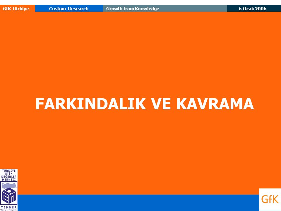 6 Ocak 2006 GfK TürkiyeCustom ResearchGrowth from Knowledge FARKINDALIK VE KAVRAMA