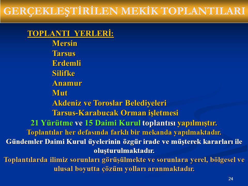 24 GERÇEKLEŞTİRİLEN MEKİK TOPLANTILARI TOPLANTI YERLERİ: MersinTarsusErdemliSilifkeAnamurMut Akdeniz ve Toroslar Belediyeleri Tarsus-Karabucak Orman i