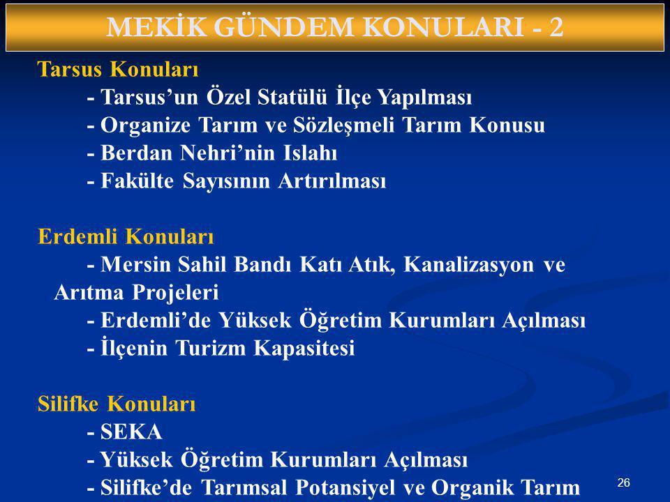 26 MEKİK GÜNDEM KONULARI - 2 Tarsus Konuları - Tarsus'un Özel Statülü İlçe Yapılması - Organize Tarım ve Sözleşmeli Tarım Konusu - Berdan Nehri'nin Is