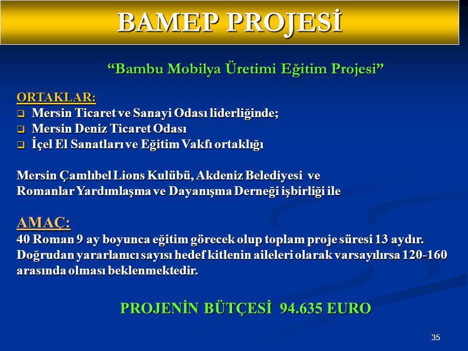 """35 """"Bambu Mobilya Üretimi Eğitim Projesi"""" ORTAKLAR:  Mersin Ticaret ve Sanayi Odası liderliğinde;  Mersin Deniz Ticaret Odası  İçel El Sanatları ve"""