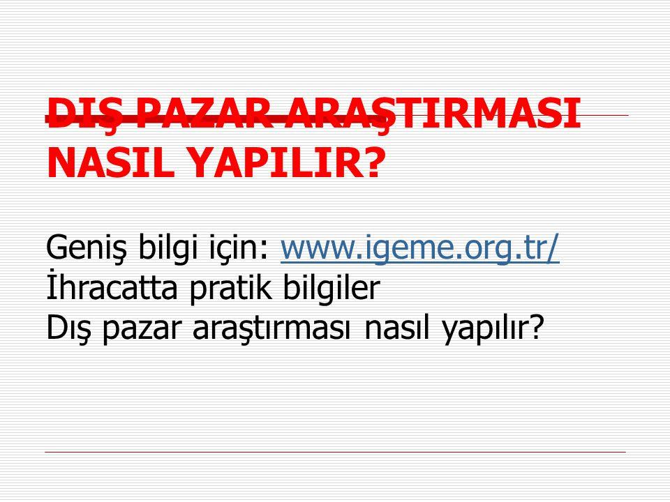 DIŞ PAZAR ARAŞTIRMASI NASIL YAPILIR? Geniş bilgi için: www.igeme.org.tr/www.igeme.org.tr/ İhracatta pratik bilgiler Dış pazar araştırması nasıl yapılı