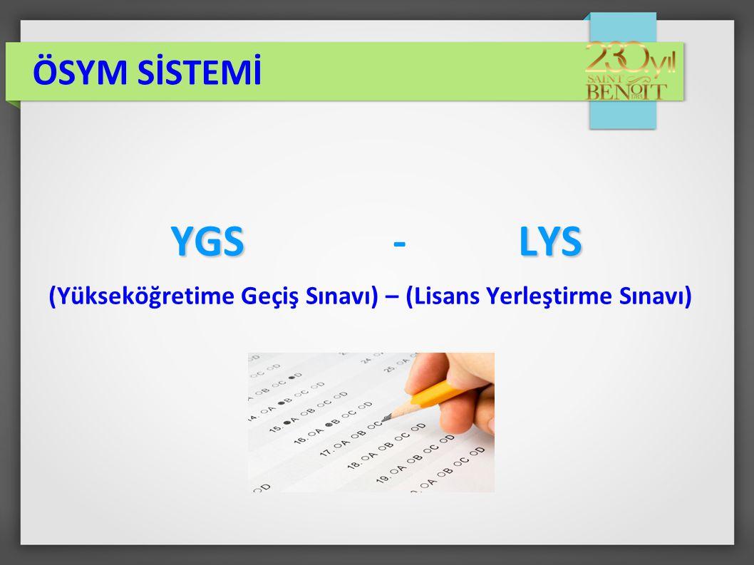 YGSLYS YGS - LYS (Yükseköğretime Geçiş Sınavı) – (Lisans Yerleştirme Sınavı)