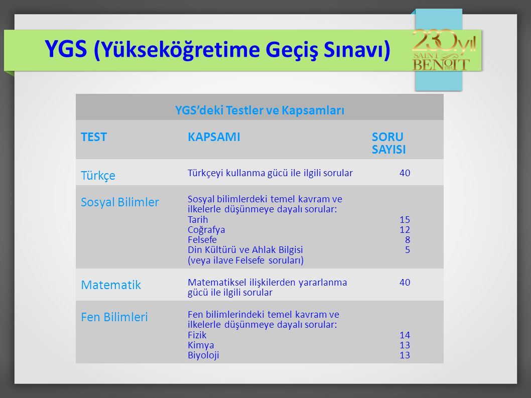YGS (Yükseköğretime Geçiş Sınavı) YGS'deki Testler ve Kapsamları TESTKAPSAMI SORU SAYISI Türkçe Türkçeyi kullanma gücü ile ilgili sorular40 Sosyal Bil
