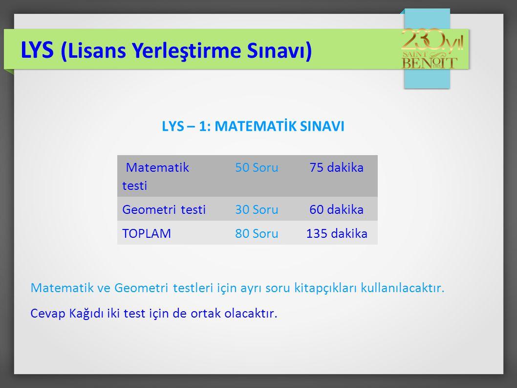 LYS – 1: MATEMATİK SINAVI Matematik ve Geometri testleri için ayrı soru kitapçıkları kullanılacaktır. Cevap Kağıdı iki test için de ortak olacaktır. L