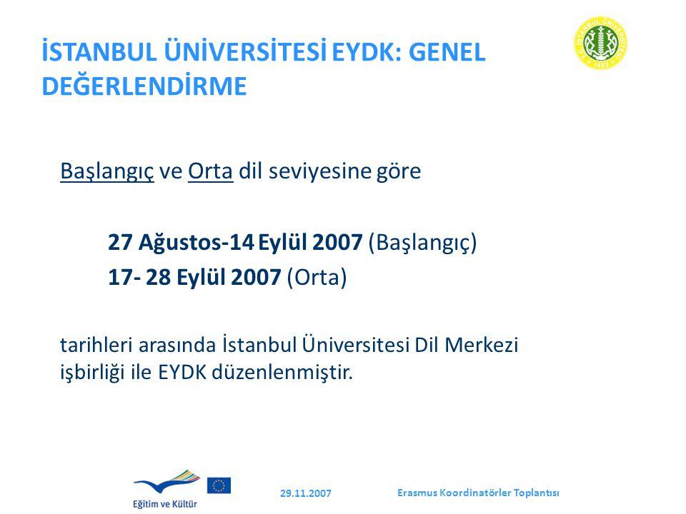 Erasmus Koordinatörler Toplantısı 29.11.2007 İSTANBUL ÜNİVERSİTESİ EYDK: GENEL DEĞERLENDİRME Başlangıç ve Orta dil seviyesine göre 27 Ağustos-14 Eylül 2007 (Başlangıç) 17- 28 Eylül 2007 (Orta) tarihleri arasında İstanbul Üniversitesi Dil Merkezi işbirliği ile EYDK düzenlenmiştir.