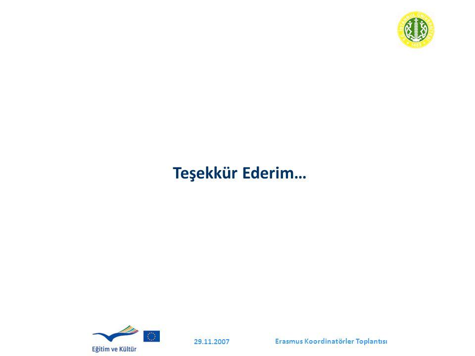 Erasmus Koordinatörler Toplantısı 29.11.2007 Teşekkür Ederim…