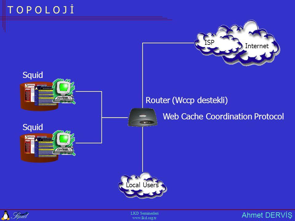 Ahmet DERVİŞ LKD Seminerleri www.lkd.org.tr T O P O L O J İ Internet ISP Local Users Squid Router (Wccp destekli) Web Cache Coordination Protocol